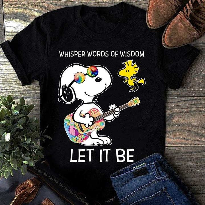 Peace Glasses Guitarist Snoopy Whisper Words Of Wisdom Let It Be Shirt