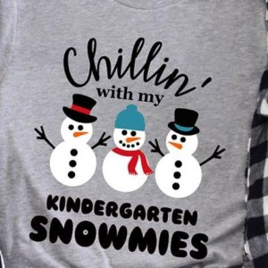 Chilling With My Friends Kindergarten Snowmies Christmas Shirt