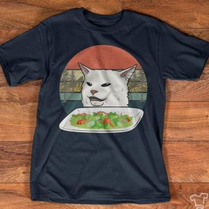 Cute White Meme Vegetable Salad Cat Vintage Shirt