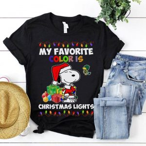 Snoopy Santa My Favorite Color Is Christmas Lights Shirt