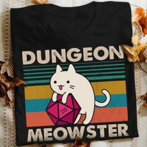 Vintage Dungeon Meowster Cute White Cat And Magic Cube Shirt