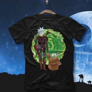 Rick And Baby Yoda Morty Portal Gate T-Shirt Sweatshirt Hoodie