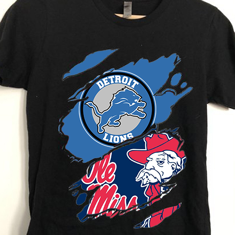 Detroit Lions And Ole Miss Rebels Wild Claws Attack Style T-Shirt Sweatshirt Hoodie