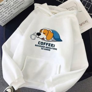 Lazy Cute Dog Coffee Because Adulting Is Hard T-Shirt Sweatshirt Hoodie